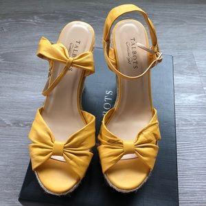 Talbots Sunshine Yellow Leather Espradrille Wedges